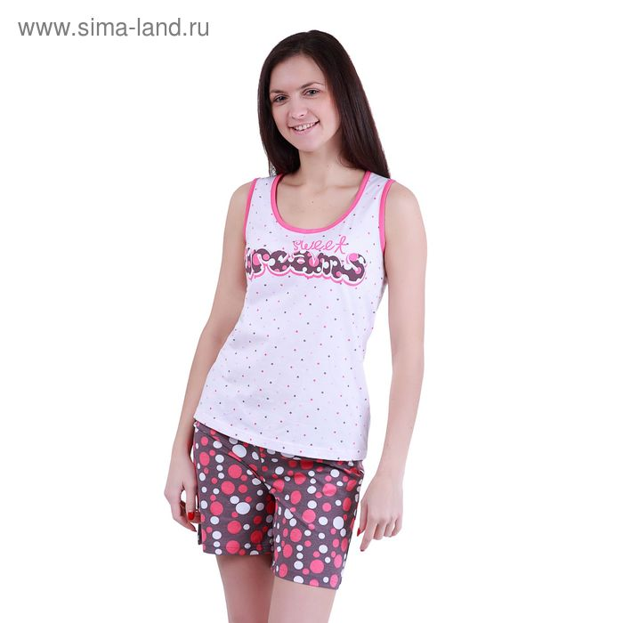 """Пижама женская """"Цветные сны"""" (майка, шорты), рост 158-164 см, р-р 52"""