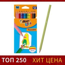 Карандаши 12 цветов BIC Kids Tropicolors 2, пластиковые