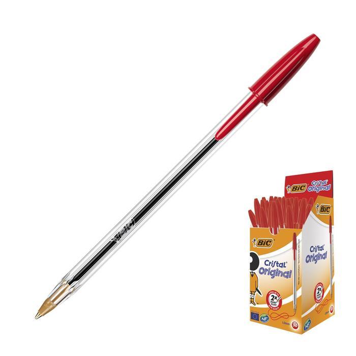 Ручка шариковая BIC Cristal, чернила красные, узел 1.0мм, одноразовая