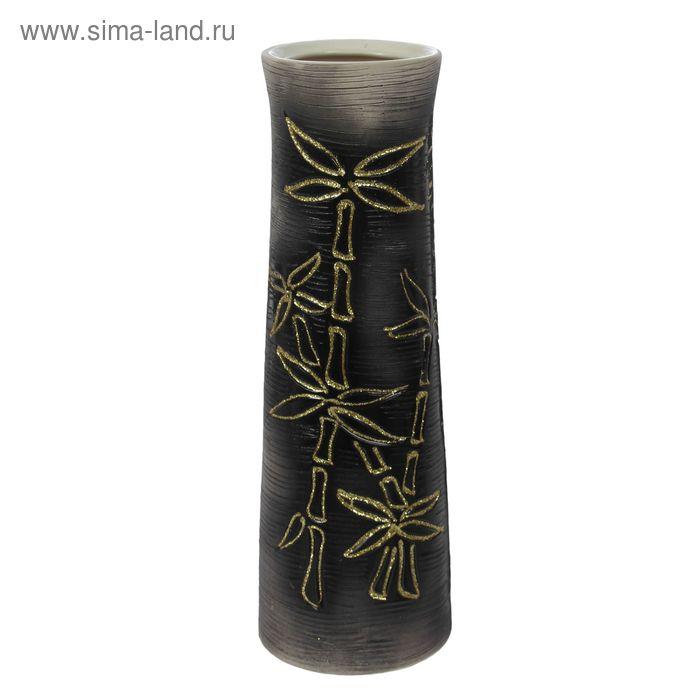 """Ваза """"Элита"""" большая, бамбук, шамот, чёрная"""