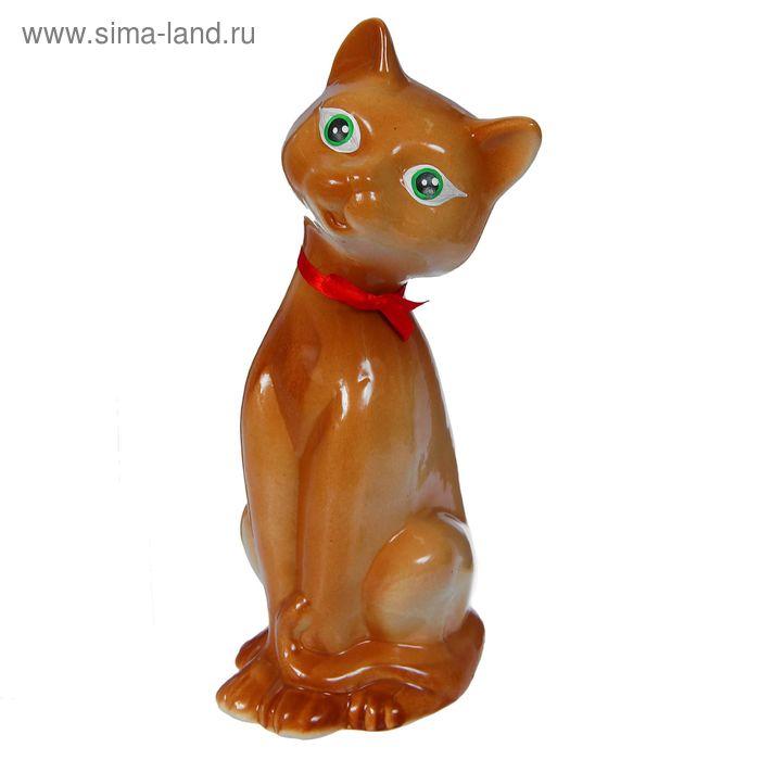 """Копилка """"Кошка"""" коричневая, глянец, красный бантик"""