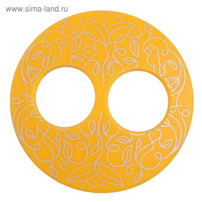 """Волшебная пуговица """"Матовая дизайн"""" круг, цвет оранжевый в серебре"""