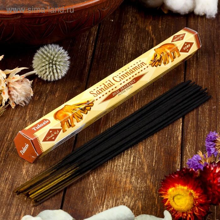 Благовония шестигранник Sarathi Sandal Cinnamon Сандал корица 20 палочек в упаковке