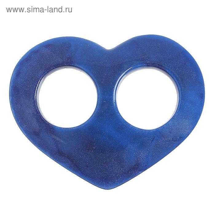 "Волшебная пуговица ""Сердце"" глянцевая, цвет синий"