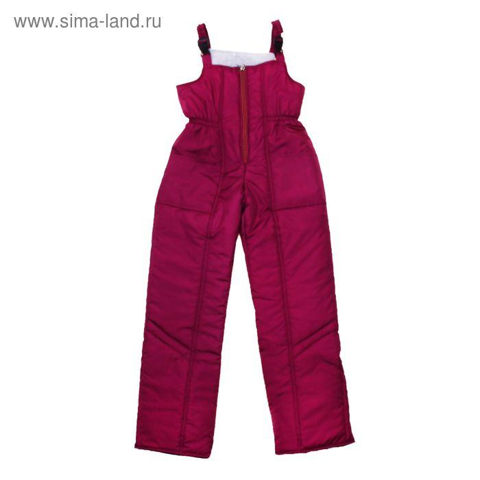 Полукомбинезон для девочки, рост 146 см, цвет бордо_ПК 02-20