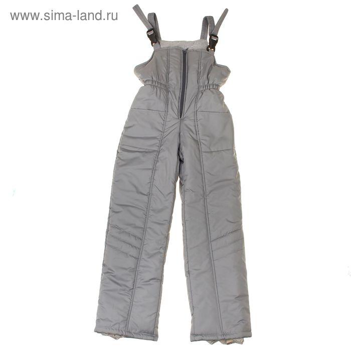 Полукомбинезон для девочки, рост 104 см, цвет серый_ПК 02-33