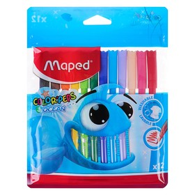 Фломастеры 12 цветов Color'Peps Ocean, с заблокированным пишущим узлом, супер смываемые