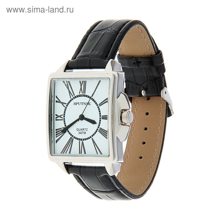 "Часы наручные мужские ""Спутник"",  бел циферб, кож ремень"