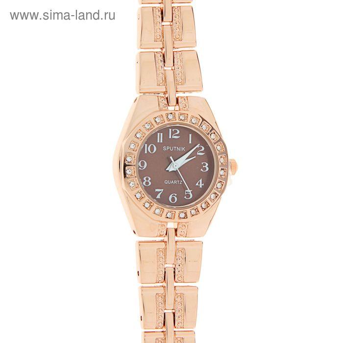 """Часы наручные женские """"Спутник"""",  корич циферб, декор камнями"""