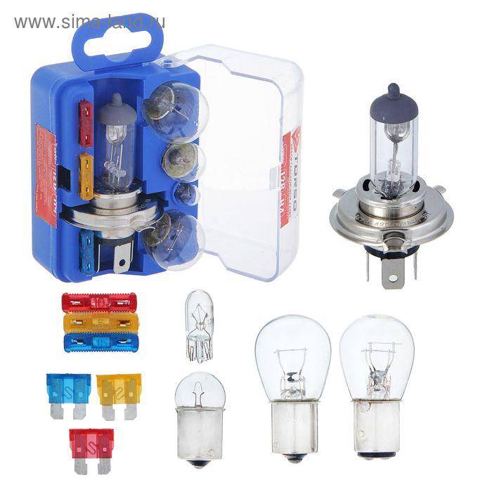 Набор ламп TORSO: Н4, P21/5W, P21W, W5W, R5W + 3 флажковых предохранителя