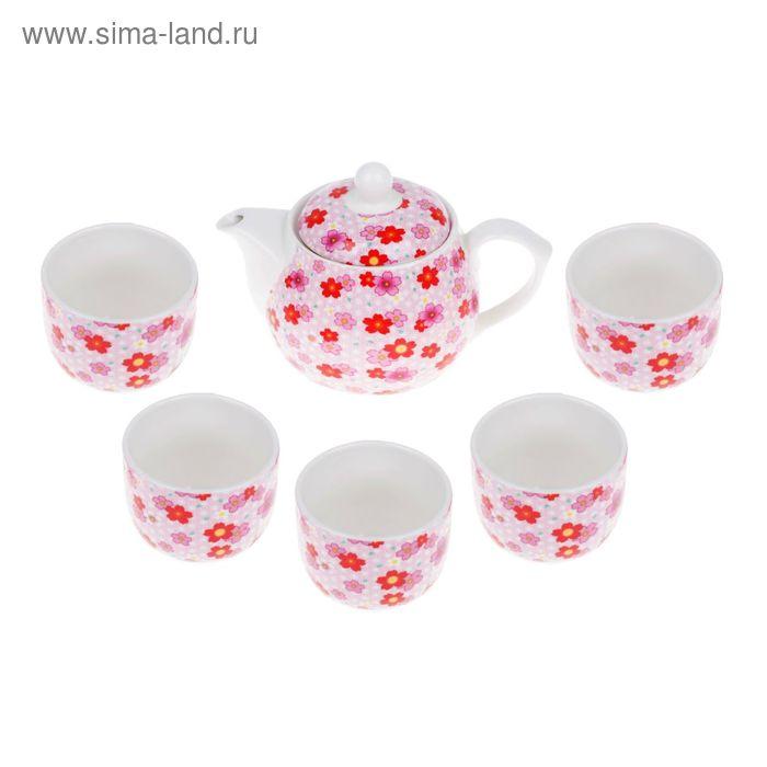 """Набор для чайной церемонии на 5 персон """"Цветочная поляна"""" (чайник, 5 чашек, сито)"""