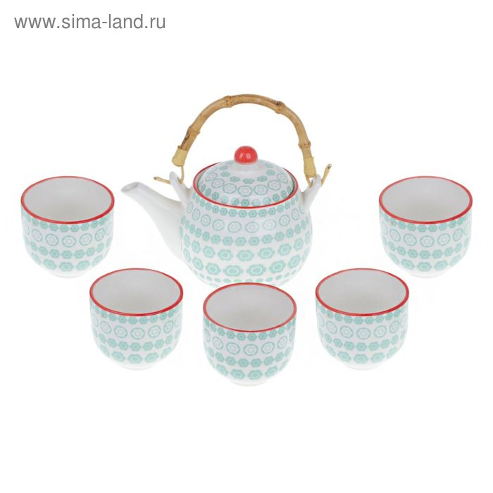 "Набор для чайной церемонии на 5 персон ""Цветение"", 7 предметов: чайник 550 мл, 5 чашек 140 мл, сито"
