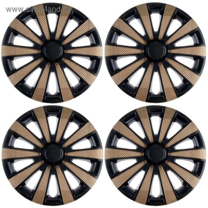 """Колпаки на колёса """"Карат"""" Super Black/Gold, R15, набор 4 шт."""