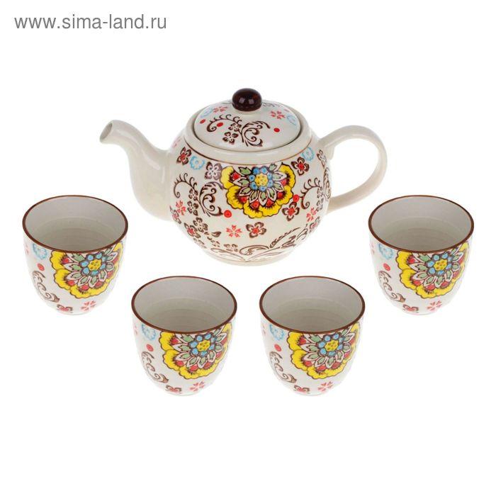 """Набор для чайной церемонии """"Семицветик"""", 5 предметов: чайник 900 мл, чашки 150 мл"""