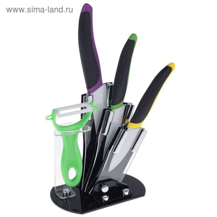 Набор 4 предмта: 3 ножа 8/10/13 см, овощечистка на подставке, цвета МИКС