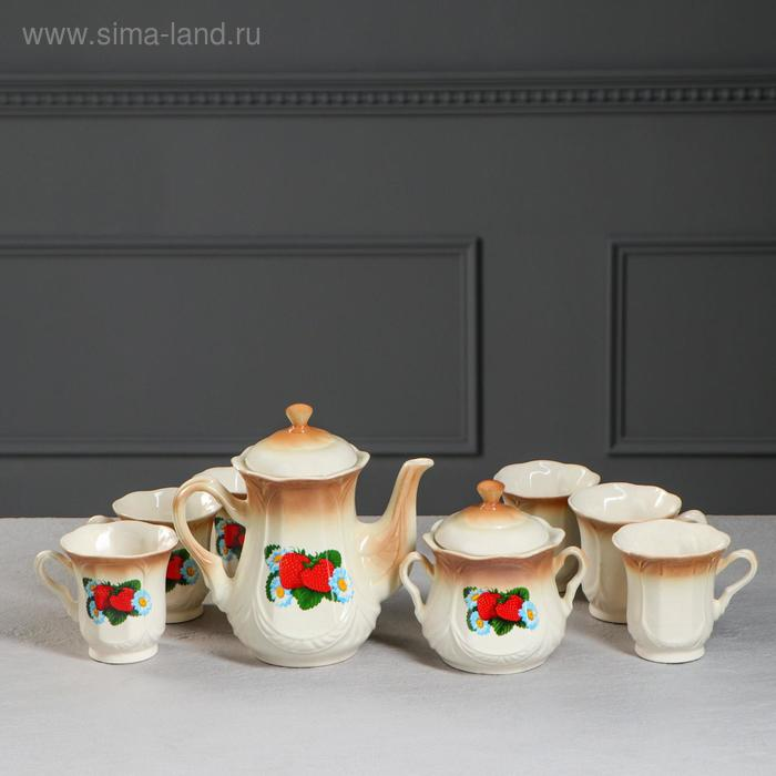 """Чайный набор """"Ажур"""" коричневый, клубника, 8 предметов 1,0/0,25 л"""