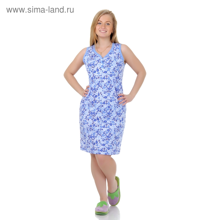 Сорочка женская ночная Р307357 голубой, рост 170-176 см, р-р 52