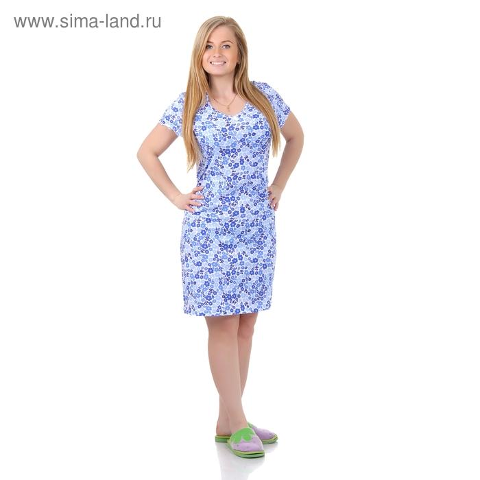 Сорочка женская ночная Р307358 голубой, рост 158-164 см, р-р 50