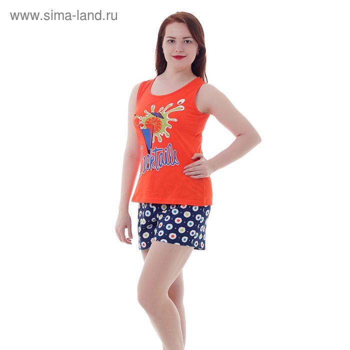 Комплект женский (майка, шорты) Р208120 красный/синий, рост 158-164 см, р-р 52