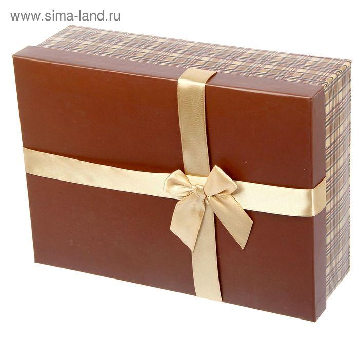 """Коробка """"Коричневая клеточка"""" 28х20,5х9,5 см"""