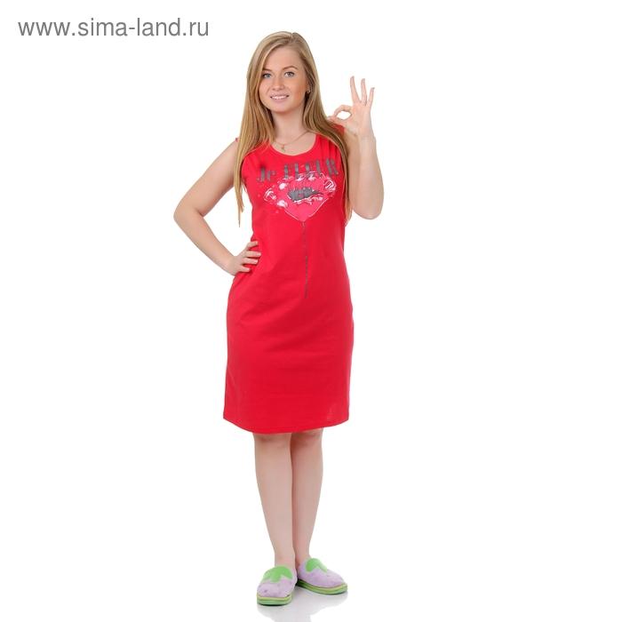 Сорочка женская ночная Р308072 красный, рост 158-164 см, р-р 50