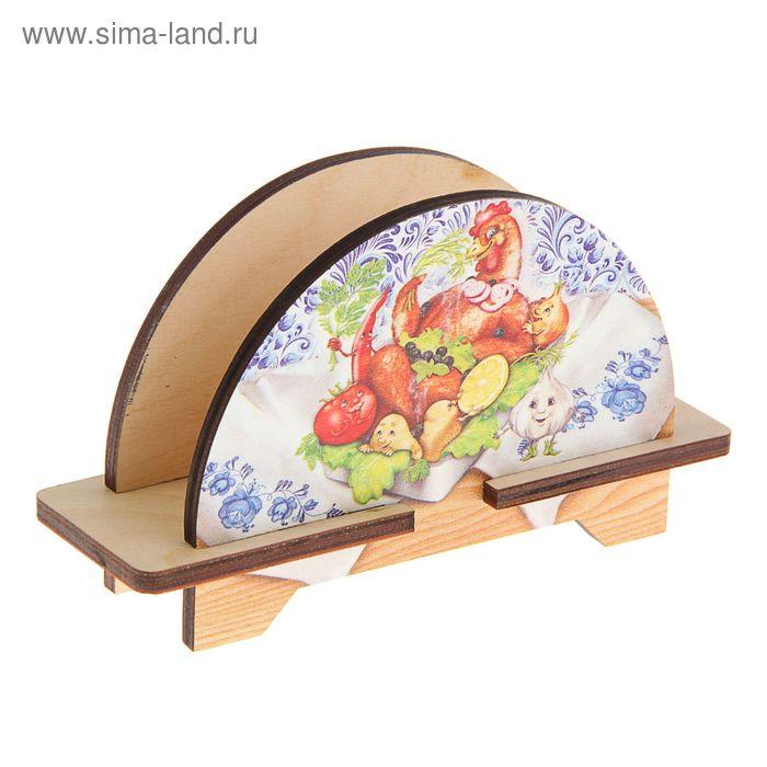 """Салфетница из дерева """"Весёлая кухня: Курочка гриль"""""""