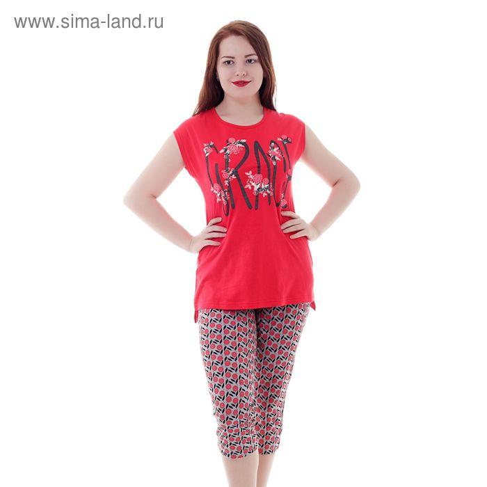 Комплект женский (майка, капри) Р208074 красный, рост 170-176 см, р-р 52