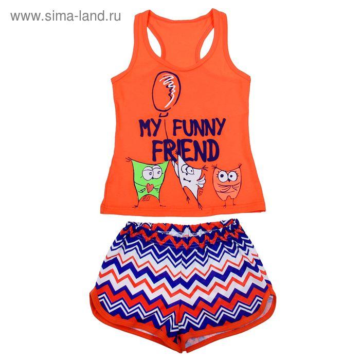 Комплект для девочки (майка+шорты), рост 158-164 см (40), цвет коралл Р207778_П