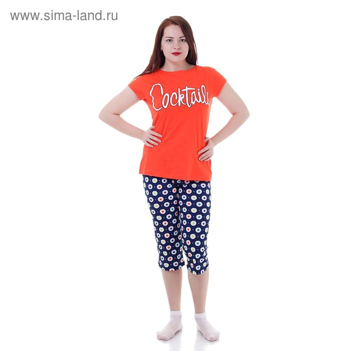 Комплект женский (футболка, капри) Р208119 красный/синий, рост 158-164 см, р-р 44