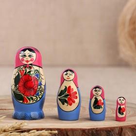 Матрёшка «Розочка», розовый платок, 4 кукольная, 9 см