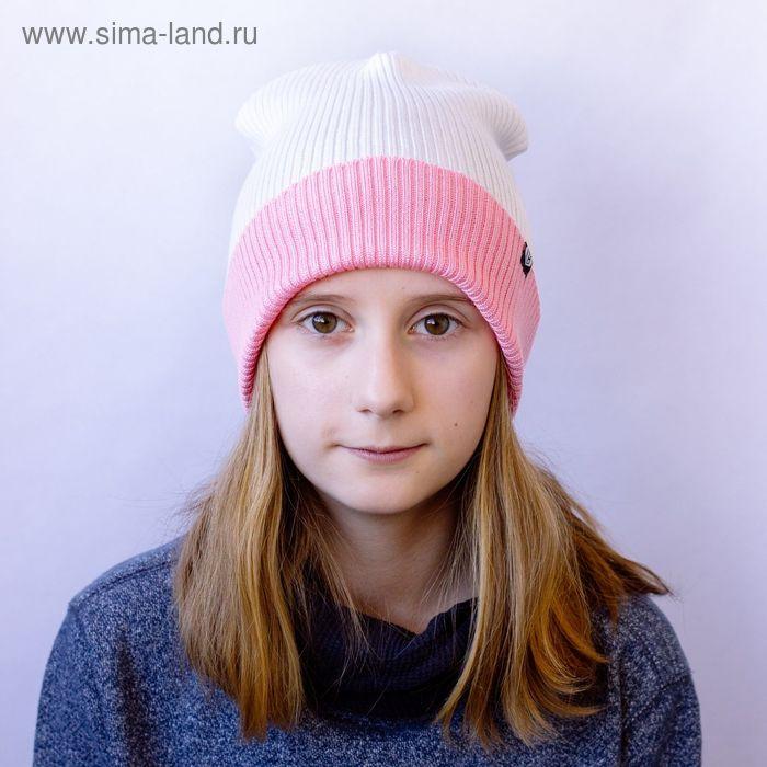"""Шапка подростковая """"КОНТРАСТ"""" демисезонная, размер 54-56, цвет белый, светло-розовый 160902"""