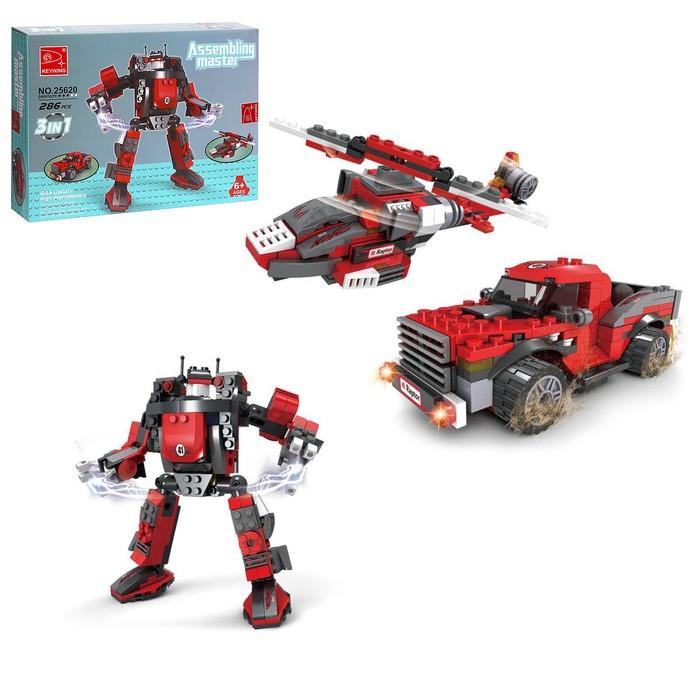 """Конструктор Капитан """"Робот-трансформер"""", 3 варианта сборки, 286 деталей"""