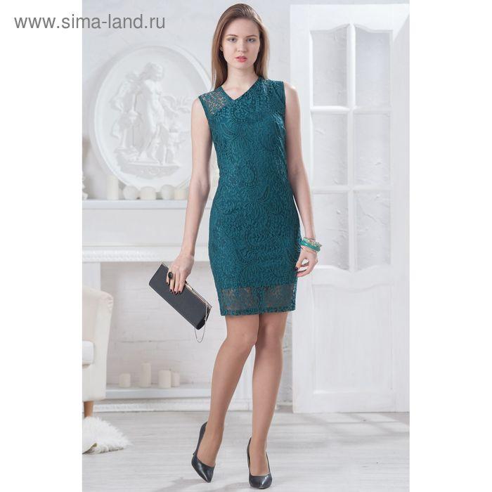 Платье женское 4521, размер 44, рост 164 см, цвет изумрудный