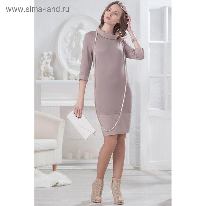 Платье женское, размер 52, рост 164 см, цвет бежевый (арт. 4498 С+)