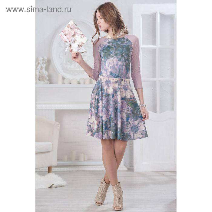 Платье женское 4529, размер 48, рост 164 см, цвет бежевый/сиреневый