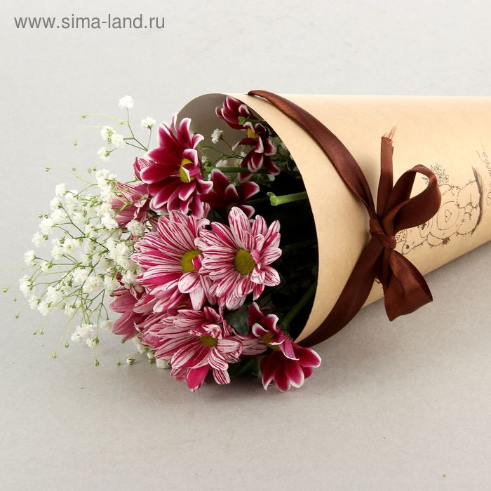 """Конус для цветов """"Мишутка"""" крафт гладкий, 16 х 26 см"""