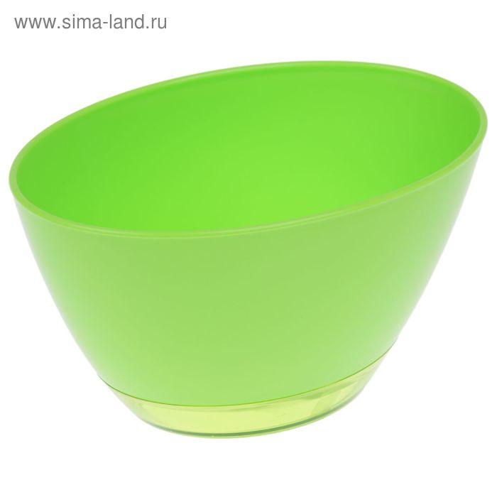 """Кашпо с поддоном 1 л """"Лодочка"""", цвет салатовый"""