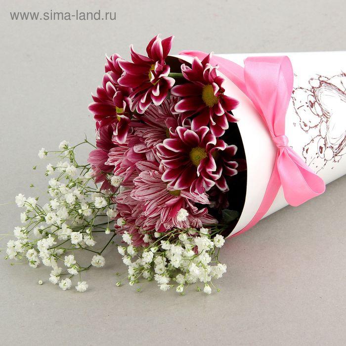 """Конус для цветов """"Валентинка"""" белый гладкий, 16 х 26 см"""