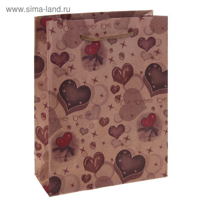 "Пакет крафт ""Шоколадные сердечки"""