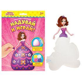 """Набор для творчества """"Кукла Анабелла с надувной юбкой"""" + 4 цвета шарикового пластилина по 6 г, картонный элемент"""