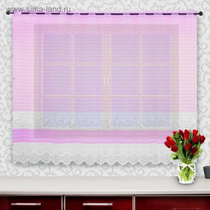 Штора кухонная, ширина 245 см, высота 160 см, цвет розовый