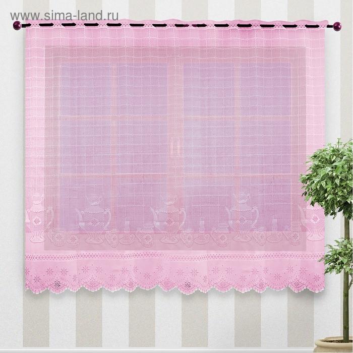 Штора кухонная, ширина 250 см, высота 160 см, цвет розовый