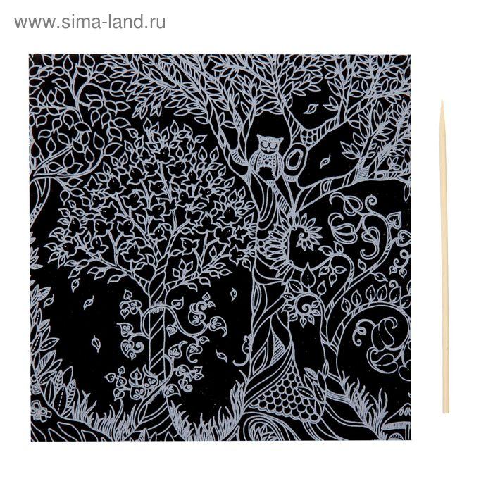 """Гравюра """"Загадочный сад №14"""" цветное основание, оборот раскраска + штихель"""