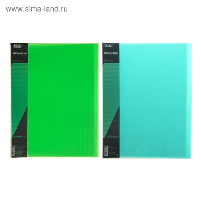 Папка с 20 прозрачными вкладышами А4, 700мкм, DIAMOND, торцевой карман с бумажной вставкой, полупрозрачная зеленая