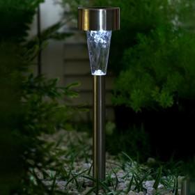 """Фонарь садовый на солнечной батарее """"Трапеция"""" 33 см, d - 5 см, 1 led, металл"""