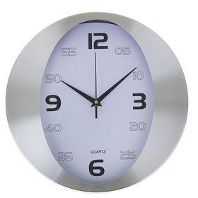 """Часы настенные круглые """"Овальный циферблат"""", d=30 см, рама хром, циферблат белый"""
