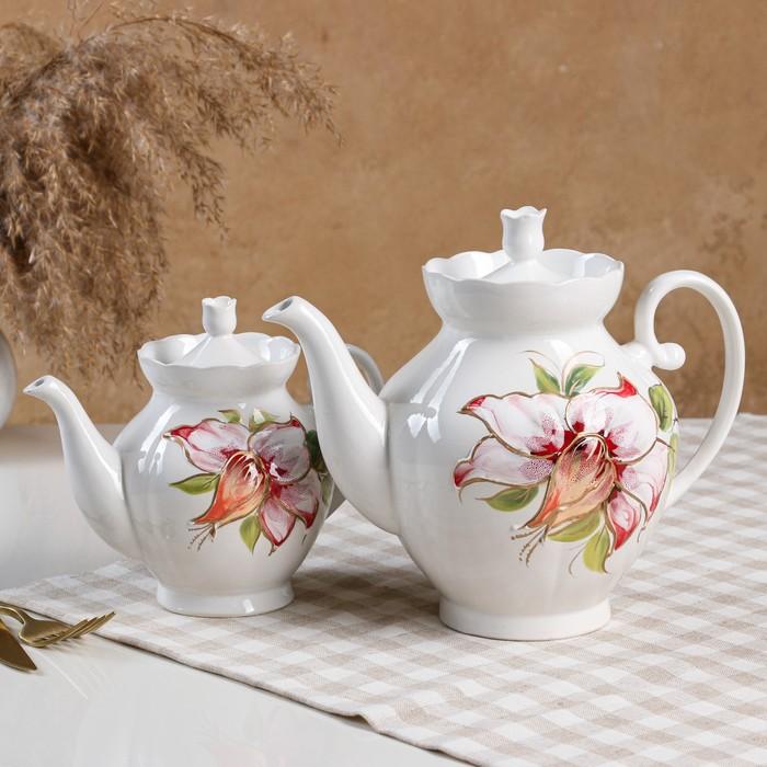 """Чайная пара """"Нарцисс"""" белый, яблочный 1,7 л/ 0,7 л"""