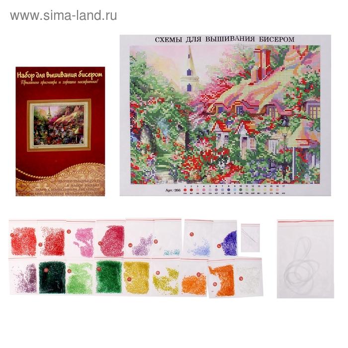 """Набор для вышивания бисером """"Цветущие кустарники у дома"""" размер основы 27*35 см"""