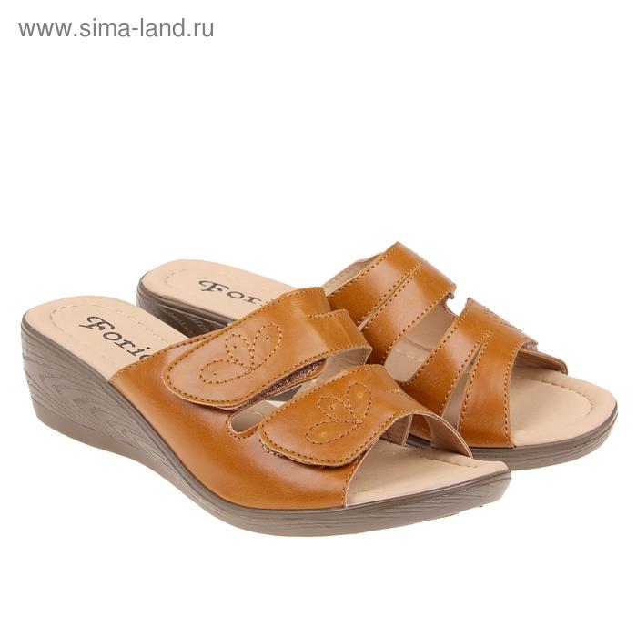 Туфли летние открытые женские Forio, цвет коричневый, размер 39, высота танкетки 5 см (арт. 35523-402)