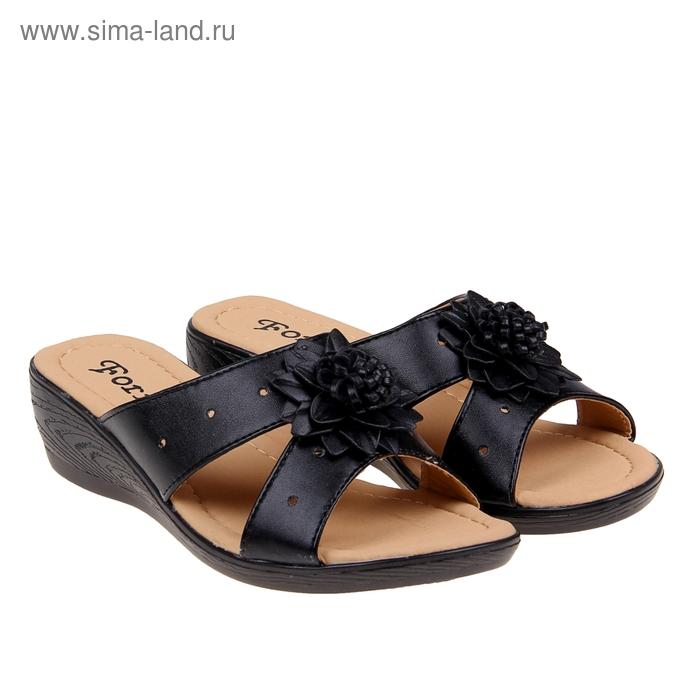 Туфли летние открытые женские Forio, цвет чёрный, размер 39, высота танкетки 5 см (арт. 35523-406-3)